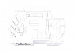 Living/Dining/Kitchen Combo 3D Distribution Plan