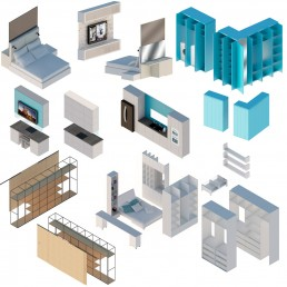 Trakata Interior and Exterior Project: Axonometric View of All the Furniture