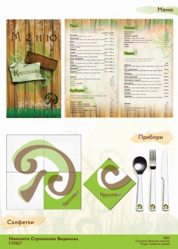 Karolina Healthy Pizzeria Total Design Project: Restaurant Accessories – Menu, Napkins, Cutlery